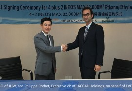 Shanghai,Nov 8, 2015-JHW ENGINEERING & CONTRACTING and EVERGAS agree for the construction of four option two INEOS MAX 32,000M3 liquefied ethane/ethylene carriers.