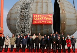 Qidong, Jiangsu, Dec 15, 2016 – Mega Tank Erection in WOE for the Maritime Gas Silk Road