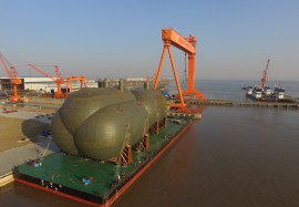 Jiangsu, DECEMBER 29, 2017-Mega Tank Delivery in WOE for the Maritime Gas Silk Road