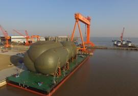 江苏,2017年12 月 29 日-华滋海工为海上气体丝绸之路建造的超大型液罐交付